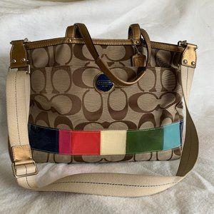 Coach Signature Stripe Multicolor Tote Bag